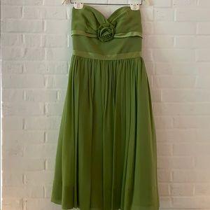 Rich green strapless dress